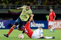 PEREIRA - COLOMBIA, 30-01-2020: Ricardo Marquez de Colombia disputa el balón con Tomas Alarcon de Chile durante partido entre Colombia U-23 y Chile U-23 por la fecha 5, grupo A, del CONMEBOL Preolímpico Colombia 2020 jugado en el estadio Hernán Ramírez Villegas de Pereira, Colombia. /  Ricardo Marquez of Colombia fights the ball with Tomas Alarcon of Chile during the match between Colombia U-23 and Chile U-23 for the date 5, group A, for the CONMEBOL Pre-Olympic Tournament Colombia 2020 played at Hernan Ramirez Villegas stadium in Pereira, Colombia. Photo: VizzorImage / Cristian Alvarez / Cont