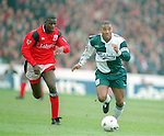 Chris Bart Williams of Nottingham Forest and John Barnes of Liverpool - Premier League - Nottingham Forest v Liverpool - City Ground - Nottingham - England - 23rd March 1996 - Picture Simon Bellis/Sportimage