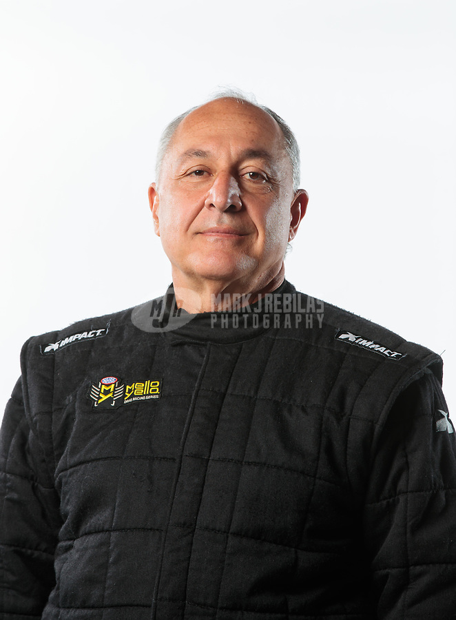 Feb 6, 2019; Pomona, CA, USA; NHRA pro stock driver Fernando Cuadra poses for a portrait during NHRA Media Day at the NHRA Museum. Mandatory Credit: Mark J. Rebilas-USA TODAY Sports