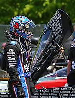 Jun 7, 2015; Englishtown, NJ, USA; NHRA top fuel driver Antron Brown during the Summernationals at Old Bridge Township Raceway Park. Mandatory Credit: Mark J. Rebilas-