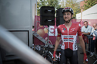 Overall winner of the previous 2 editions of the Eneco Tour Tim Wellens (BEL/Lotto-Soudal) about to mount the sign-on stage at the start<br /> <br /> 12th Eneco Tour 2016 (UCI World Tour)<br /> stage 4: Aalter - St-Pieters-Leeuw (202km)