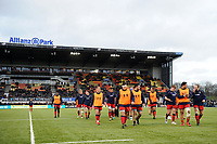 The Worcester Warriors team leave the field at the end of the pre-match warm-up. Aviva Premiership match, between Saracens and Worcester Warriors on December 30, 2017 at Allianz Park in London, England. Photo by: Patrick Khachfe / JMP