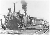 RGS 4-6-0 #20 double-heading a freight with #25 at Durango.<br /> RGS  Durango, CO  Taken by Moedinger, William - summer 1934
