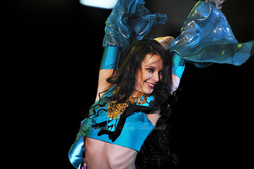 Ulyana Trofimova of Uzbekistan performs gala exhibition at 2010 World Cup at Portimao, Portugal on March 14, 2010.  (Photo by Tom Theobald).