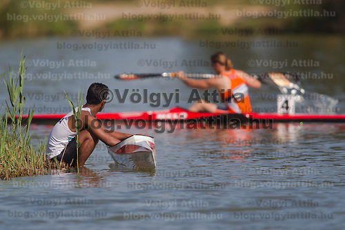 Competitor from India watchis fellow sportsmen as they prepare for competition during the 2011 ICF World Canoe Sprint Championships held in Szeged, Hungary. Thursday, 18. August 2011. ATTILA VOLGYI