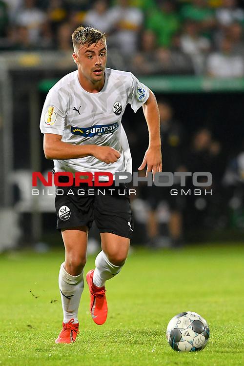 09.08.2019, BWT-Stadion am Hardtwald, Sandhausen, GER, DFB Pokal, 1. Runde, SV Sandhausen vs. Borussia Moenchengladbach, <br /><br />DFL REGULATIONS PROHIBIT ANY USE OF PHOTOGRAPHS AS IMAGE SEQUENCES AND/OR QUASI-VIDEO.<br /><br />im Bild: Philipp Förster / Foerster / Forster (SV Sandhausen #28)<br /><br />Foto © nordphoto / Fabisch