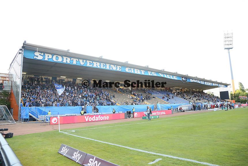 Darmstaedter Fans auf der Haupttribüne - SV Darmstadt 98 vs. Armina Bielefeld, Stadion am Böllenfalltor