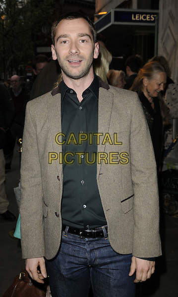 Charlie Condou.attended the 'Abigail's Party' press night, Wyndhams Theatre, Charing Cross Rd., London, England, UK, May 18th 2012..half length black shirt brown tweed jacket blazer jeans belt .CAP/CAN.©Can Nguyen/Capital Pictures.