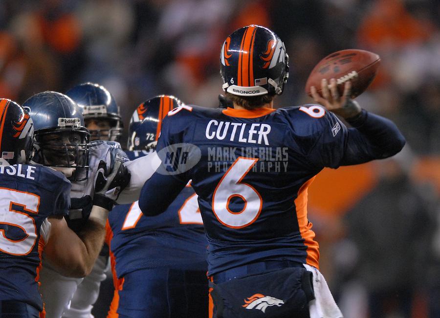Dec. 3, 2006; Denver, CO, USA; Denver Broncos quarterback (6) Jay Cutler against the Seattle Seahawks at Invesco Field at Mile High in Denver, Colorado. Seattle defeated Denver 23-20. Mandatory Credit: Mark J. Rebilas