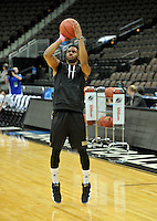 NWA Democrat-Gazette/Michael Woods --03/15/2015--w@NWAMICHAELW... Wofford guard Karl Cochran shoots around during practice Wednesday evening at Jacksonville Veterans Memorial Arena in Jacksonville, Florida.
