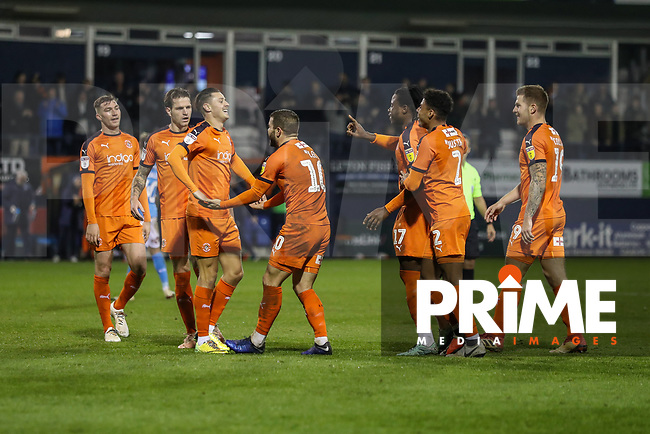 GOAL - Elliot Lee of Luton Town (centre) celebrates after he scores his second goal to make the score 0-3 during the Sky Bet League 1 match between Luton Town and Bradford City at Kenilworth Road, Luton, England on 27 November 2018. Photo by David Horn.