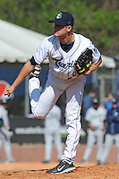 Asheville Tourists Bruce Kern #6 delivers a pitch during a game against  the Lexington Legends at McCormick Field in Asheville,  North Carolina;  April 17, 2011. Lexington defeated Aheville 18-9.  Photo By Tony Farlow/Four Seam Images