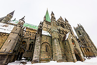 The gothic Nidaros Cathedral, which dates back to the 11th century, Trondheim, Norway. The Cathedral is the northernmost medieval cathedral in the world, and the second largest in Scandinavia.