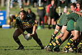 D. Crighton about to pass from the base of a scrum. Counties Manukau Premier Club Rugby, Pukekohe v Waiuku  played at the Colin Lawrie field, on the 3rd of 2006.Pukekohe won 36 - 14