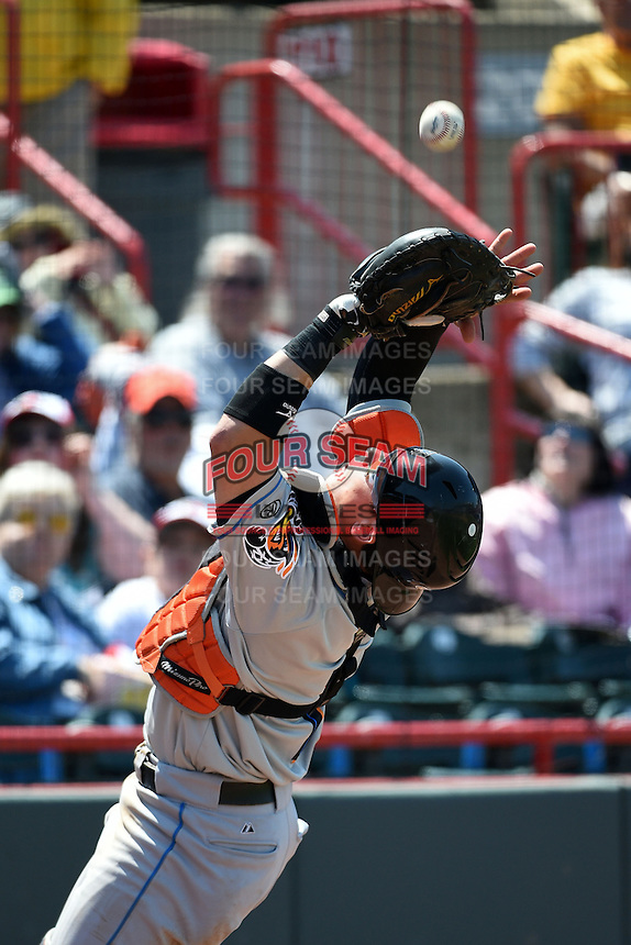 Akron RubberDucks catcher Tony Wolters (1) catches a pop up in foul territory during a game against the Erie SeaWolves on May 18, 2014 at Jerry Uht Park in Erie, Pennsylvania.  Akron defeated Erie 2-1.  (Mike Janes/Four Seam Images)