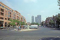 Philadelphia: Head House Square--Panorama with Society Hill Towers in background. 1950's and 1980's urban renewal concepts contrasted. Photo '91.