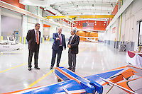 Ukrainian Ambassador to the United States Valeriy Chaly (center) tours MSU's Raspet Flight Research Laboratory on Wednesday [Aug. 31] with systems engineer Rodney Lincoln (right) and MSU International Institute Executive Director Richard Nader. Chaly's visit to Mississippi includes tours of MSU high-technology research facilities, a public lecture and meetings with top state officials in Jackson.<br />  (photo by Beth Wynn / &copy; Mississippi State University)