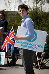 A supporter arriving at a Brexit Party event in Chester, Cheshire where the new party's leader Nigel Farage gave the main address. Mr Farage was joined on the platform by his party colleague Ann Widdecombe, the former Conservative government minister. And other prominent party members. The event was attended by around 300 people and was one of the first since the formation of the Brexit Party by Nigel Farage in Spring 2019.