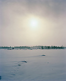FINLAND, Inari, snow landscape with trees in background