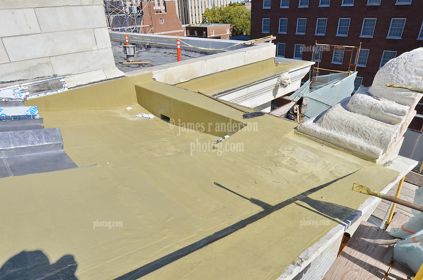 New Haven Courthouse GA 23 Phase 1. Project No: BI-JD-299<br /> Architect: JCJ Architecture  Contractor: Kronenberger Restoration<br /> James R Anderson Photography New Haven CT photog.com<br /> Date of Photograph: 23 September 2013<br /> Camera View: Northeast. Roof, Front. East Side.  No.: 24