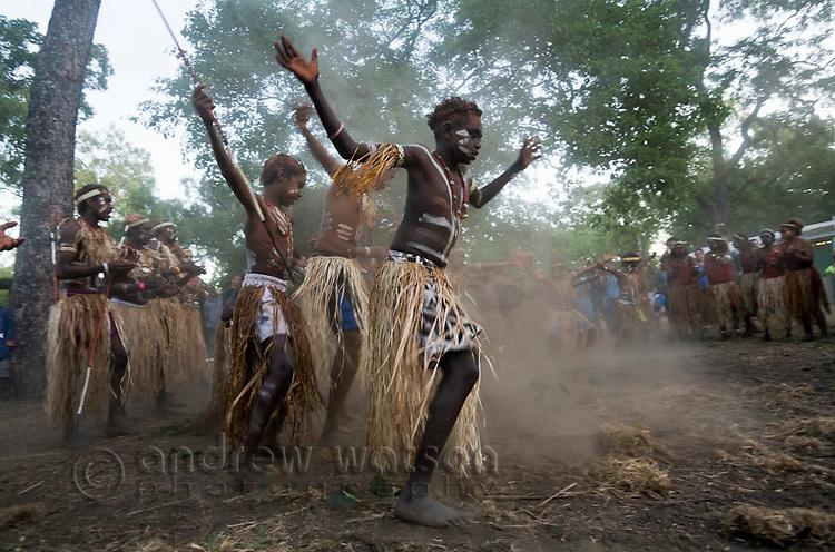 Lockhart River dance troupe performing at the Laura Aboriginal Dance Festival.  Laura, Queensland, Australia