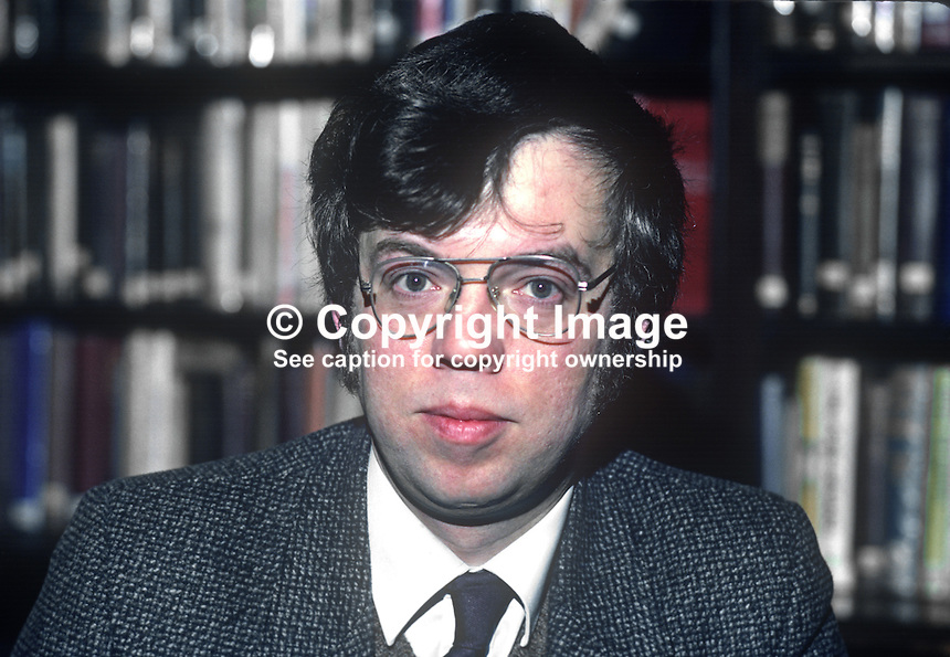 John Gray, librarian, Linenhall Library, Belfast, N Ireland, 198201006JG3<br /> <br /> Copyright Image from Victor Patterson, 54 Dorchester Park, Belfast, UK, BT9 6RJ<br /> <br /> t1: +44 28 9066 1296<br /> t2: +44 28 9002 2446<br /> m: +44 7802 353836<br /> <br /> e1: victorpatterson@me.com<br /> e2: victorpatterson@gmail.com<br /> <br /> www.victorpatterson.com<br /> <br /> IMPORTANT: Please see my Terms and Conditions of Use at www.victorpatterson.com