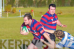 Mike Cronin Castleisland heads for the St Mary's try line as his team mate John McCarthy looks on during their cup clash in Castleisland on Sunday