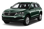 2018 Skoda Karoq Ambition 5 Door SUV angular front stock photos of front three quarter view