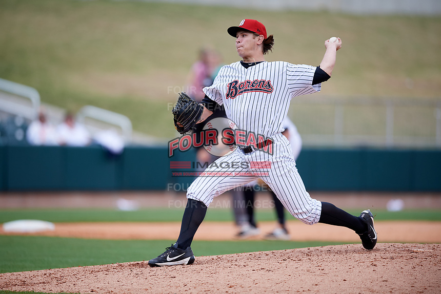 Birmingham Barons relief pitcher Jace Fry (51) delivers a pitch during a game against the Jacksonville Jumbo Shrimp on April 24, 2017 at Regions Field in Birmingham, Alabama.  Jacksonville defeated Birmingham 4-1.  (Mike Janes/Four Seam Images)