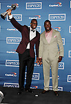 LOS ANGELES, CA - JULY 11: Vernon Davis and Patrick Willis  pose in the press room during the 2012 ESPY Awards at Nokia Theatre L.A. Live on July 11, 2012 in Los Angeles, California.