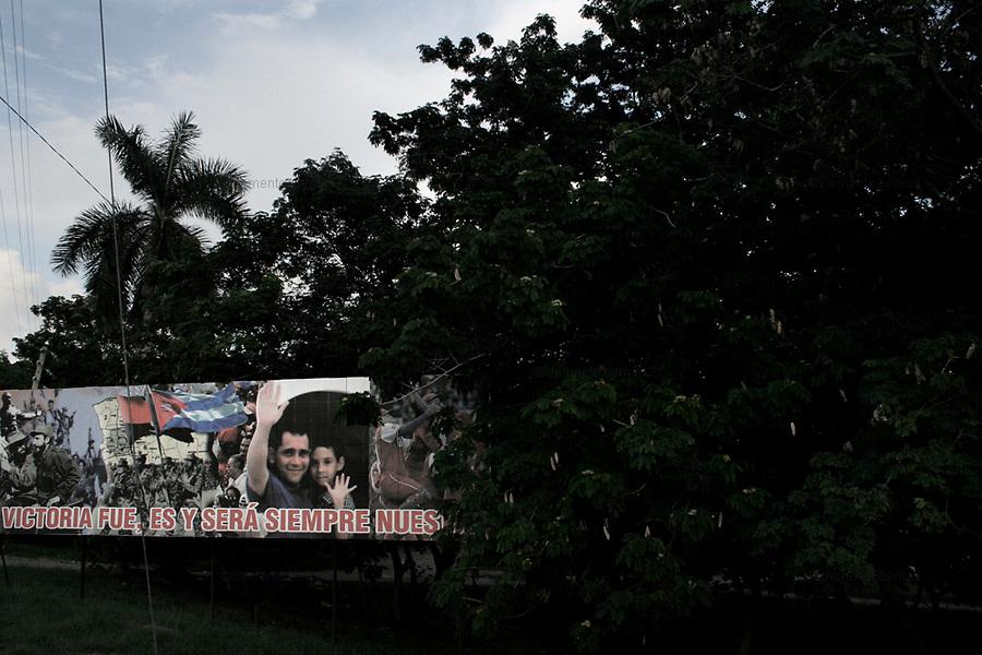 Havana (Cuba). September 2006..Vedado. Billboard in support Revolution.