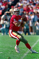 SAN FRANCISCO, CA - San Francisco 49ers quarterback Steve Young in action during a game against the Los Angeles Rams at Candlestick Park in San Francisco, California on October 25, 1992. Photo by Brad Mangin