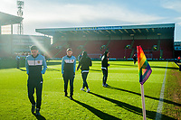 Leeds United players on the pitch before the game in the Sky Bet Championship match between Barnsley and Leeds United at Oakwell, Barnsley, England on 25 November 2017. Photo by Stephen Buckley / PRiME Media Images.