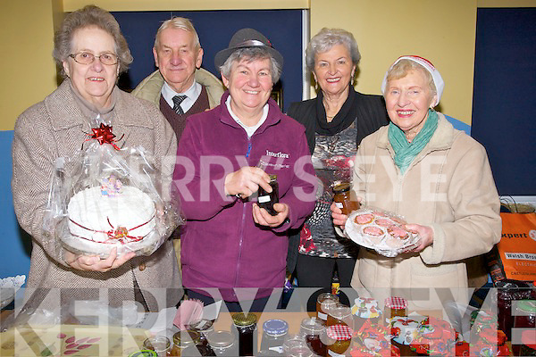 SALE; Selling their jams and cakes to raise funds for St John's Ashe Street Christmas Parish Fayre Parish to raise funds for the parish on Saturday, were: Jean and Trevor Mills Smyth, Betty Groves, Mona Butler and Mary Kinch.......