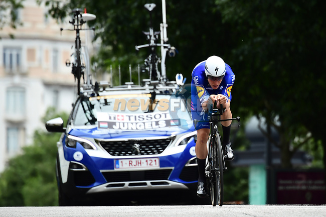 Bob Jungels (LUX) Quick-Step Floors in action during the opening Prologue of the 2018 Criterium du Dauphine running 6.6km around Valence, France. 3rd June 2018.<br /> Picture: ASO/Alex Broadway | Cyclefile<br /> <br /> <br /> All photos usage must carry mandatory copyright credit (© Cyclefile | ASO/Alex Broadway)