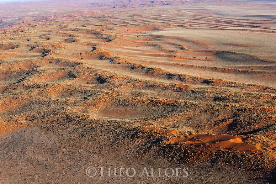 Namibia, Namib Desert, Namibrand Nature Reserve, aerial of red sand dunes covered with vegetation