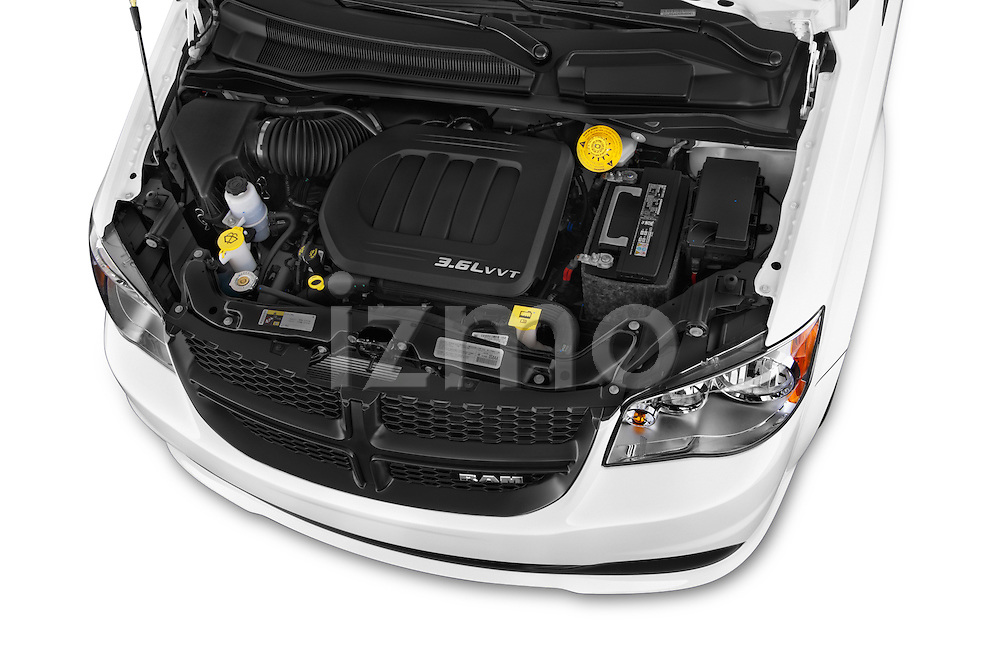Car stock 2015 Ram base tradesman 5 Door Cargo Van engine high angle detail view