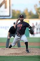 Reggie McClain (9) of the Modesto Nuts pitches against the Rancho Cucamonga Quakes at LoanMart Field on June 5, 2017 in Rancho Cucamonga, California. Rancho Cucamonga defeated Modesto, 7-5. (Larry Goren/Four Seam Images)
