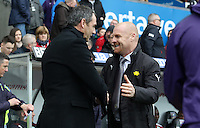 Swansea City manager Paul Clement prior to kick off of Burnley manager Sean Dyche prior to kick off of the Premier League match between Swansea City and Burnley at The Liberty Stadium, Swansea, Wales, UK. Saturday 06 March 2017