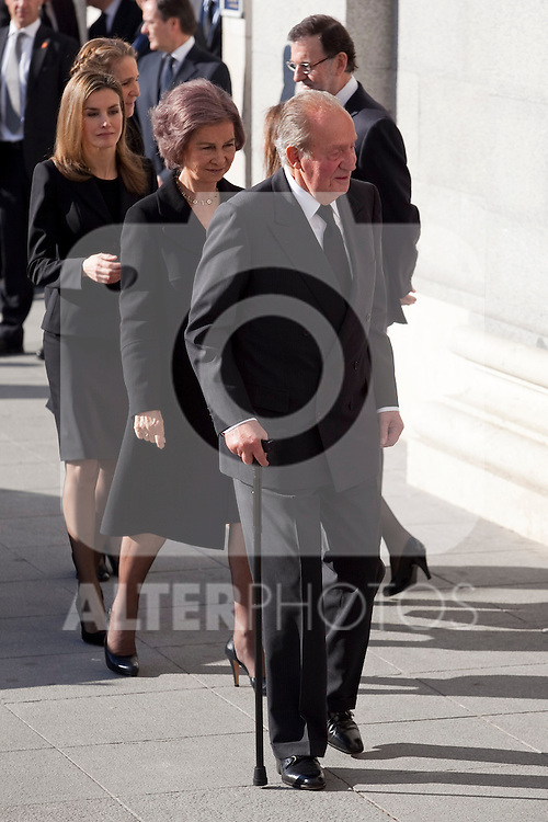 Spain King Juan Carlos I, Spain Queen Sofia greet Spain and Spain Princess Letizia attend the 11M March 11, 2004 terrorist attempt remember mass at Almudena Cathedral in Madrid, Spain. March 11, 2014. (ALTERPHOTOS/Victor Blanco)