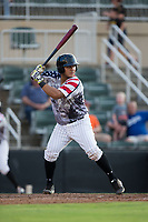 Daniel Gonzalez (30) of the Kannapolis Intimidators at bat against the Delmarva Shorebirds at Kannapolis Intimidators Stadium on June 30, 2017 in Kannapolis, North Carolina.  The Shorebirds defeated the Intimidators 6-4.  (Brian Westerholt/Four Seam Images)