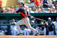 Atlanta Braves shortstop Ramiro Pena #14 during a Spring Training game against the Detroit Tigers at Joker Marchant Stadium on February 27, 2013 in Lakeland, Florida.  Atlanta defeated Detroit 5-3.  (Mike Janes/Four Seam Images)