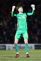 GOAL - Doncaster Rovers' goalkeeper Ian Lawlor celebrates his side's first goal   during the Sky Bet League 1 match between Doncaster Rovers and Oldham Athletic at the Keepmoat Stadium, Doncaster, England on 16 December 2017. Photo by Juel Miah / PRiME Media Images.