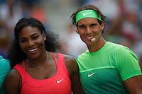 Tennis players Serena Williams (L ) and Rafael Nadal attend the Arthur ASHE kids day at the US Open 2015 in New York. 08.29.2015.  Eduardo MunozAlvarez/VIEWpress.