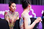 (L to R) <br />  Uzume Kawasaki, <br />  Yuka Ida (JPN), <br /> AUGUST 27, 2018 - Gymnastics - Rhythmic : <br /> Individual All-Around Qualification Ribbon <br /> at JIEX Kemayoran Hall D <br /> during the 2018 Jakarta Palembang Asian Games <br /> in Jakarta, Indonesia. <br /> (Photo by Naoki Morita/AFLO SPORT)