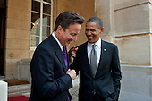 President Barack Obama talks with British Prime Minister David Cameron following their joint press conference at Lancaster House in London, England, May 25, 2011. .Mandatory Credit: Pete Souza - White House via CNP