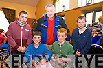 Daniel McCarthy, Elleen Wall Cian O Siochru  Teacher, Tom Kelly, Tommy Cronin from Lauragh NS  Tuosist Killarney  at the Chapter 23 Credit Union Schools Quiz finals at Ballyroe Heights Hotel on Sunday