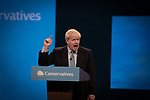 The Rt. Hon. Boris Johnson MP, leader of the Conservative Party and Prime Minister of the United Kingdom, delivering his keynote speech to the annual party conference in Manchester. The speech focused on a core message of delivering Brexit and honouring the result of the 2016 European referendum. The United Kingdom was due to leave the European Union on the 31st October, 2019.