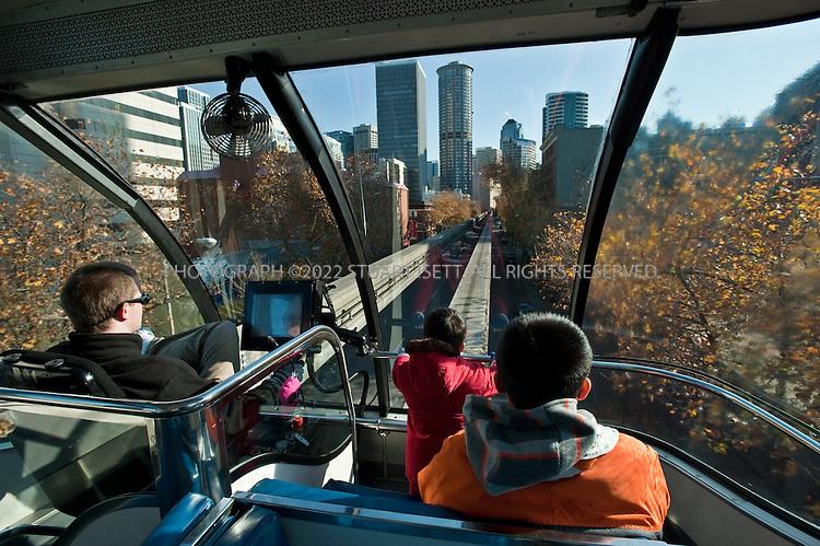 10/27/2010--Seattle, WA, USA.The Seattle Monorail passes through downtown Seattle...Photograph By Stuart Isett