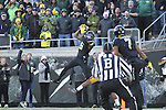 Nov 21, 2015; Eugene, OR, USA; Oregon Ducks wide receiver Charles Nelson (6) makes a touchdown reception against the USC Trojans at Autzen Stadium. <br /> Photo by Jaime Valdez